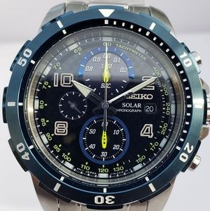 SEIKO Jimmie Johnson Chronograph Solar Black Dial